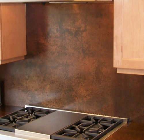 Whole copper backsplash.