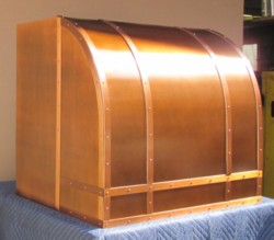 Copper range hood: high arch barrel