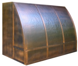 Copper barrel range hood, hammered front