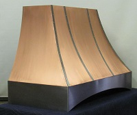 Copper range hood with stainless steel trim