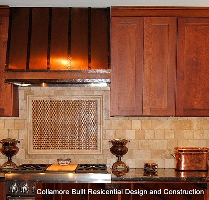 Copper range hood with straps and hammered trim, made in USA
