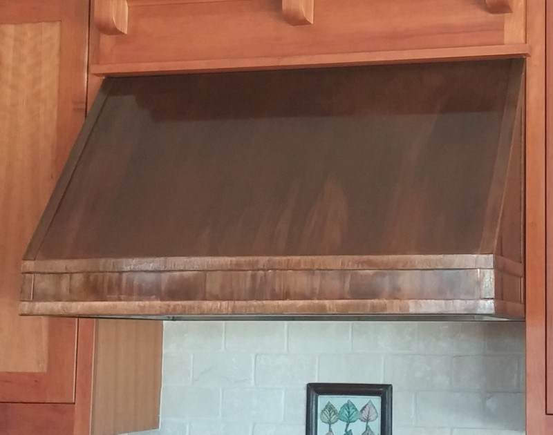 Undercabinet copper range hood, made in USA