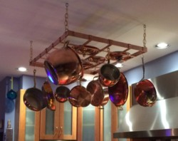Heavy Duty Hanging Copper Pot Rack Pro Grade Real Made In Usa