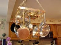 Copper & brass pot rack