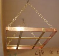 Copper & Brass pot rack - close up
