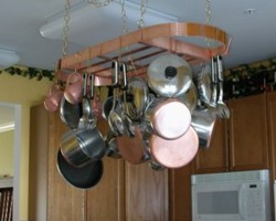 REAL Copper Oval Hanging Pot Rack 28x16 Hooks Chain Made In USA EBay
